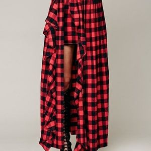 Free People Skirts - Free People Misile In Bloom Flannel Maxi Ruffle,M
